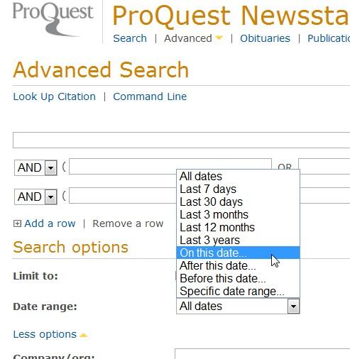 Screenshot from Proquest Newstand