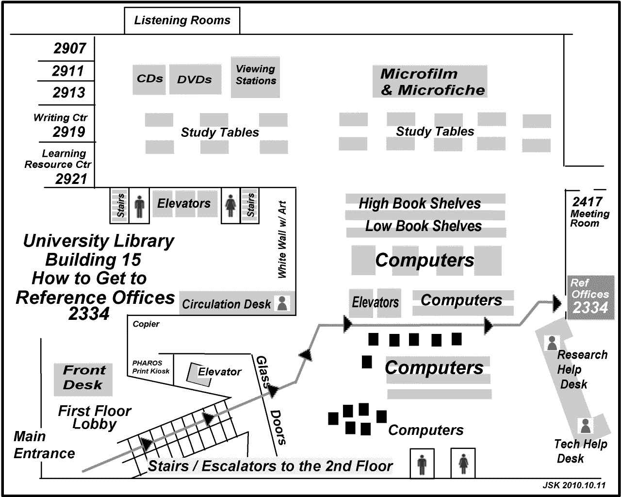 Map showing the way to the Reference Offices