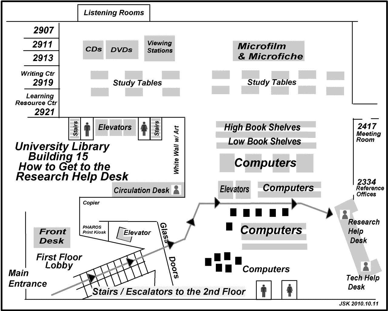 Map showing the way to the research help desk