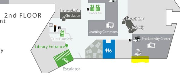 Map showing the location of the scanner in the productivity center