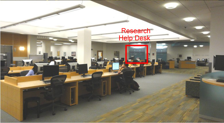 Photo Showing the location of the Research Help Desk