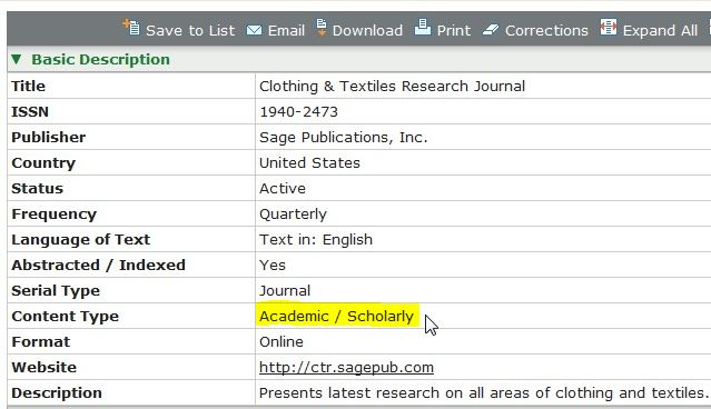 Screeh shot of record for a journal showing document type: academic/Scholarly