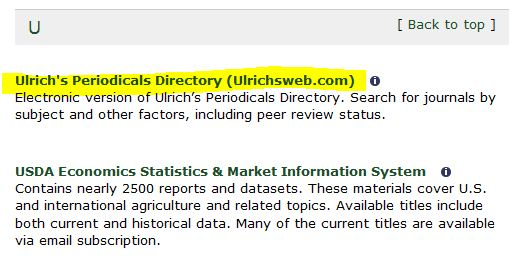 Screen shot of the listing for Ulrichsweb on the Databases Pages