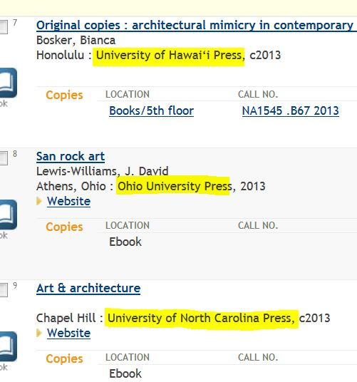 screen shot from the library catalog showing university presses