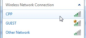 screenshot of wireless networks available