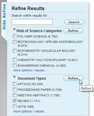 screen shot from Web of Science
