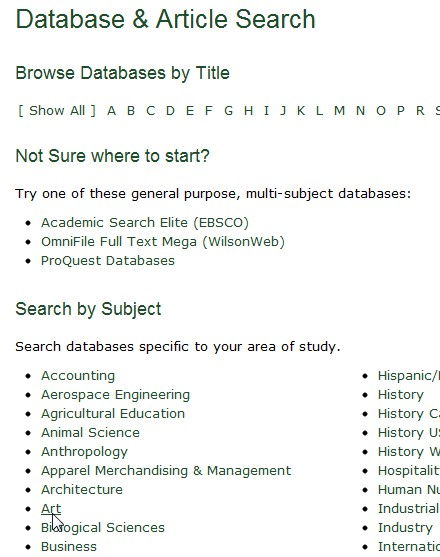 screen shot from our Databases Page