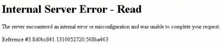 Internal Server Error message