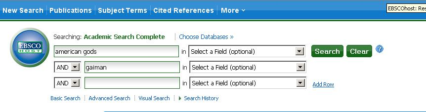 Screenshot of EBSCO database with keywords in search boxes