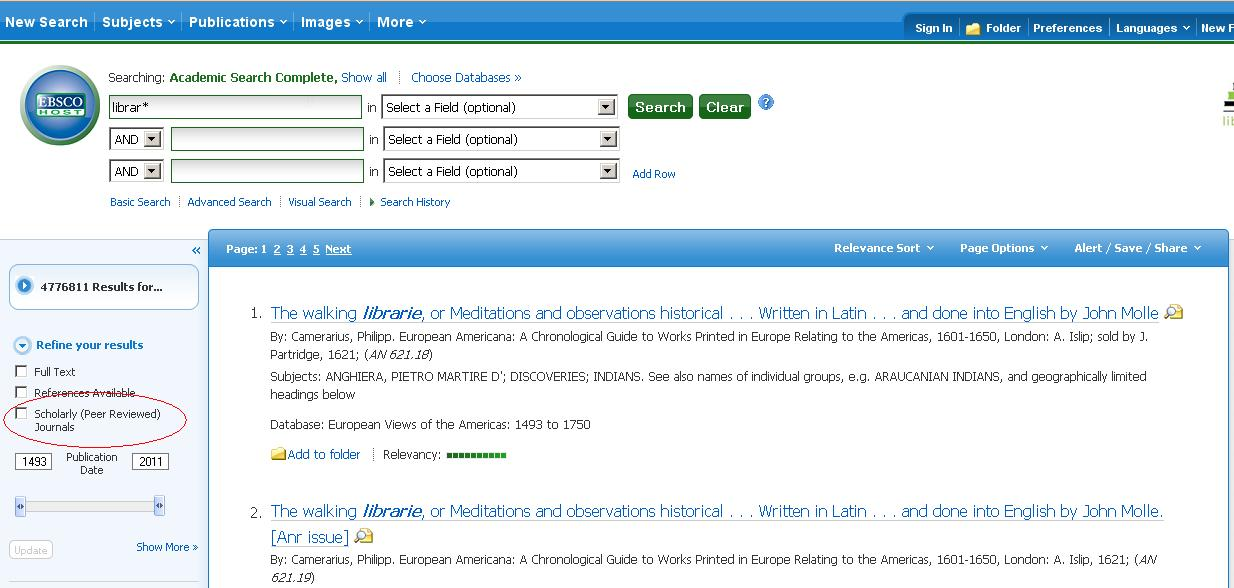 Screenshot of database with 'Scholarly (Peer Reviewed) Journals' circled