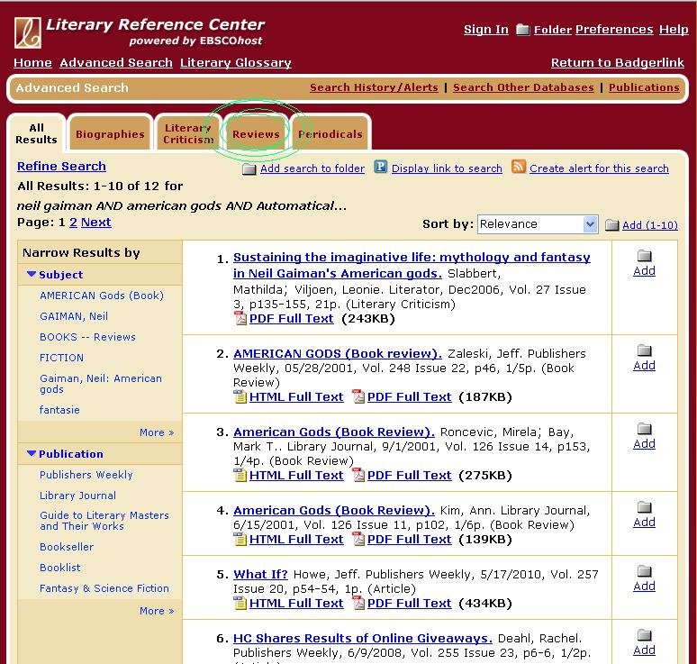 Screenshot of literary reference center with 'reviews' tab circled