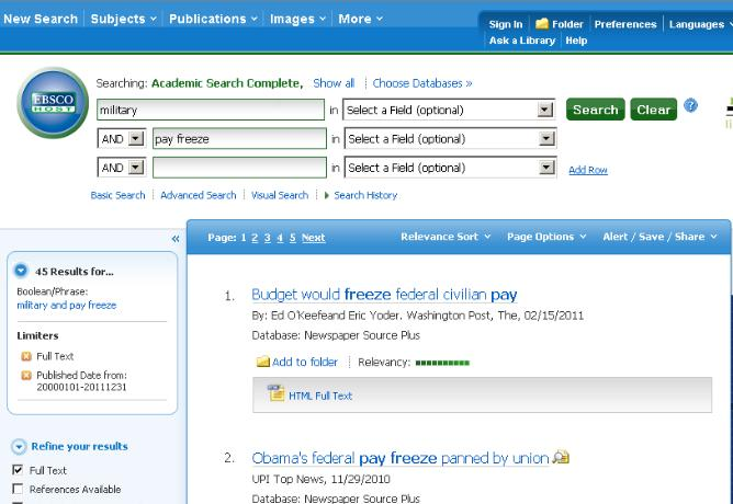 EBSCO screenshot with 'military' and 'pay freeze' typed in the search boxes