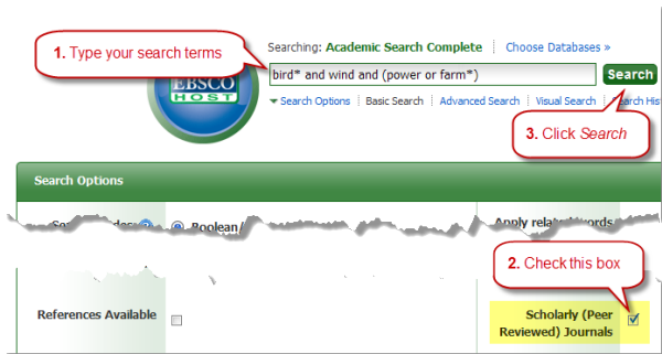Put in your search terms, check Scholarly Articles, click Search