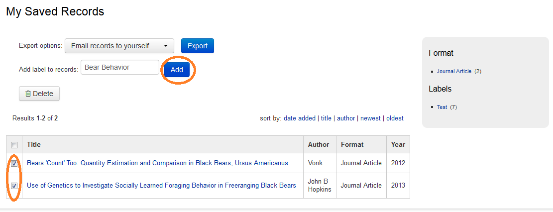 "An image showing articles selected and the field ""Add label to records"" filled to, which adds a label to articles in Oviatt Library's OneSearch tool."