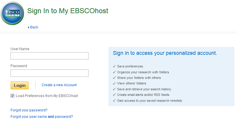 My EBSCO Login Screenshot