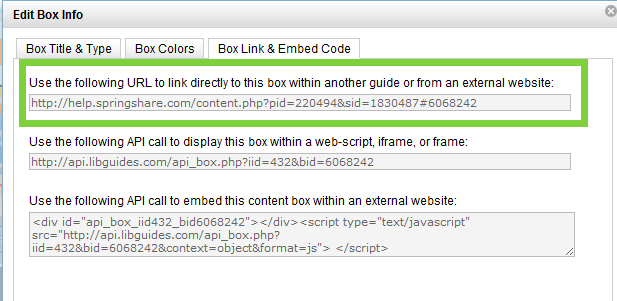 Screen shot of edit box screen with URL highlighted.