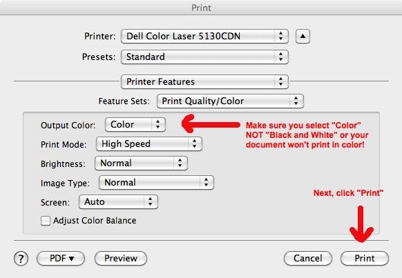 """Printer Features Dialog Box: Choose """"output color: Color"""""""
