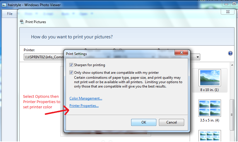 "Microsoft Photo Viewer requires you to click ""options"" then ""printer properties"""