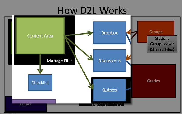 Graphic of the Content areas relationship to other areas within D2L