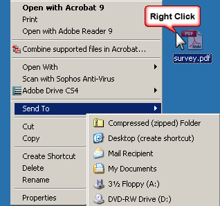 right-click on the a file, select Send to, then compressed zip file