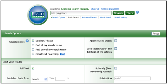 Search Screen for Sociology Journals