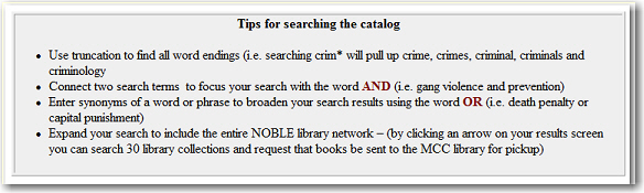 Catalog Search tips