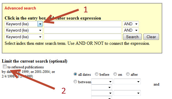 Screenshot of search interface for Book Review Index Online