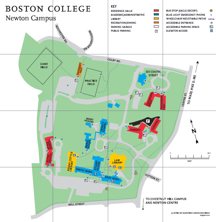 Map of Boston College Newton Campus