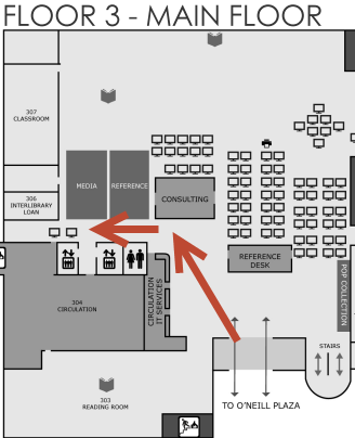 Map showing route to elevators on O'Neill Library 3rd floor