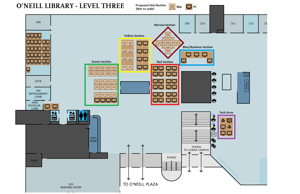 Map showing locations of workstations on O'Neill Library 3rd floor
