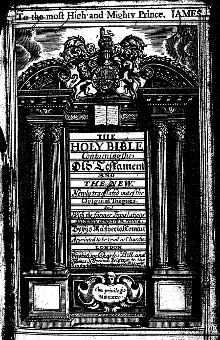 Image of Original King James Bible title page