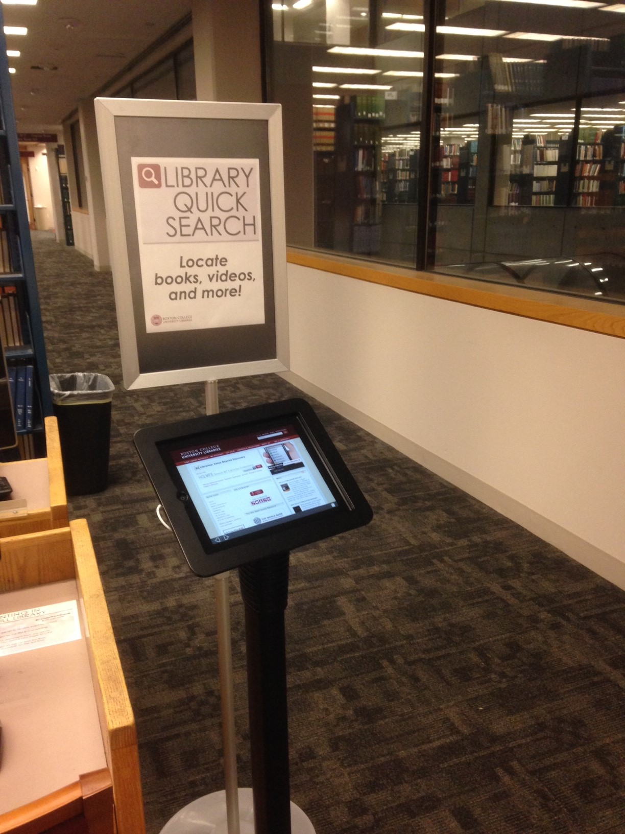 Photo of Library Quick Search iPad kiosk in O'Neill Library