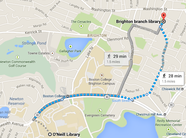 map showing route to the Brighton branch of the Boston Public Library