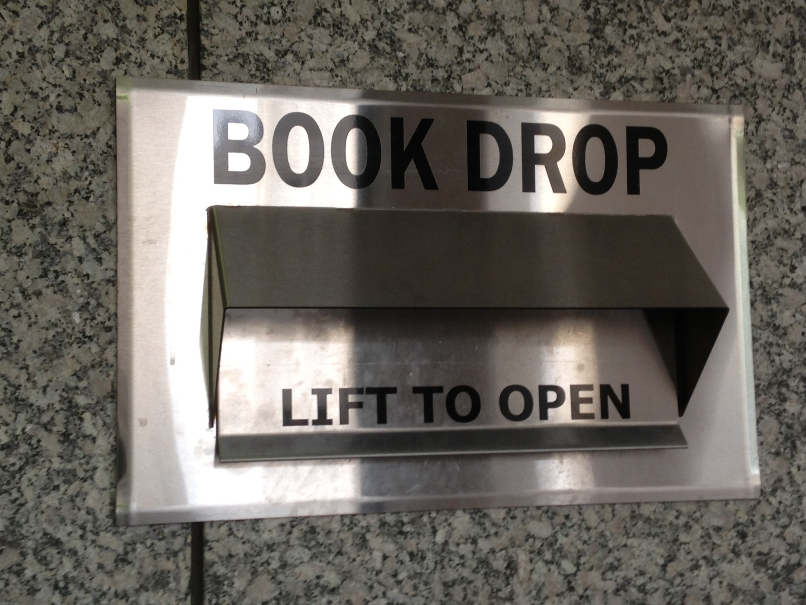 Photo of book drop outside 1st floor of O'Neill Library