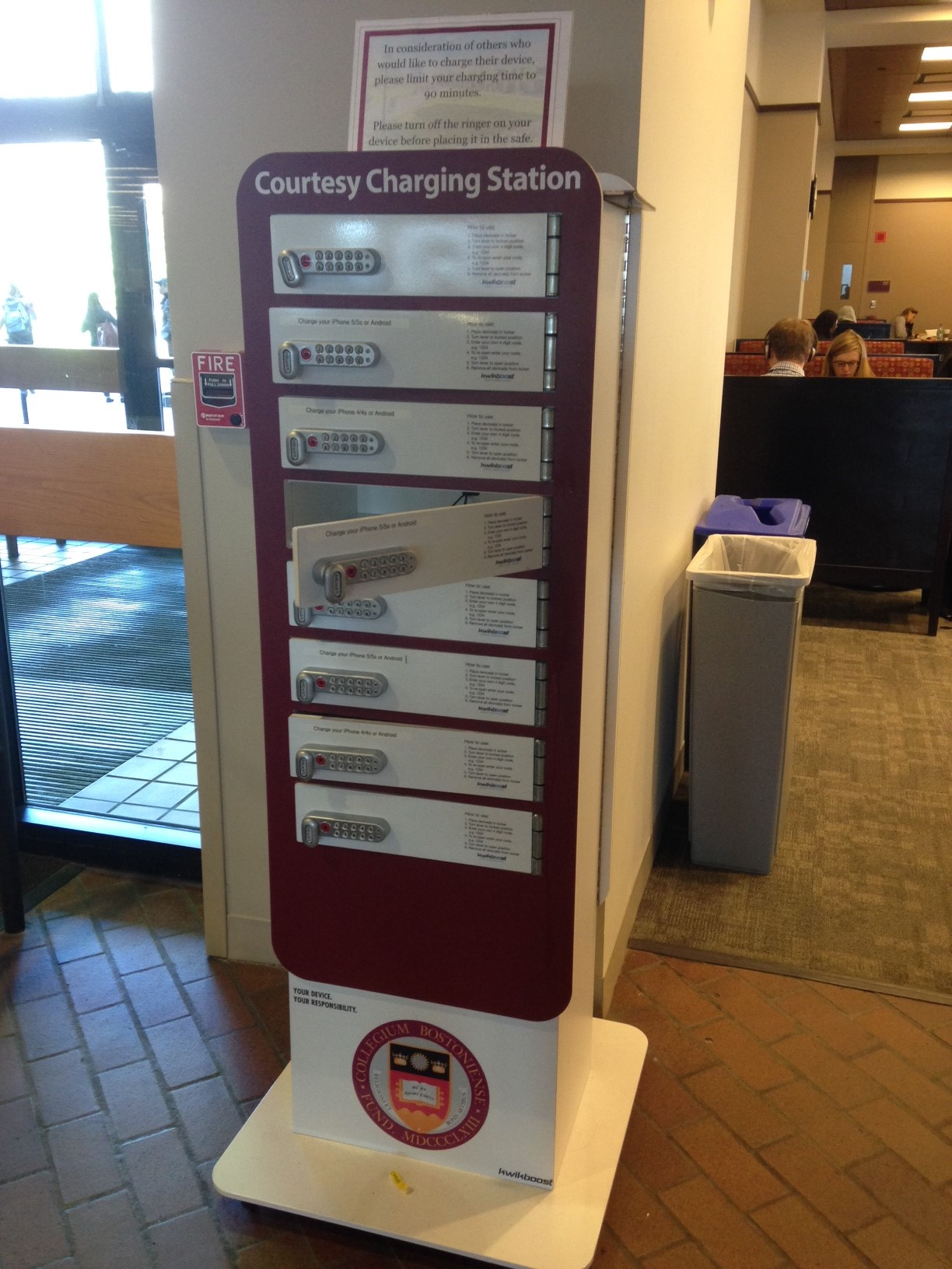 Photo of cellphone charging station in O'Neill Library