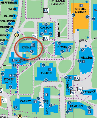 Map of BC campus showing location of Lyons Hall