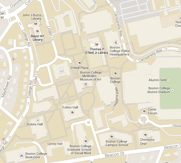 Map of BC Chestnut Hill campus showing McMullen Museum