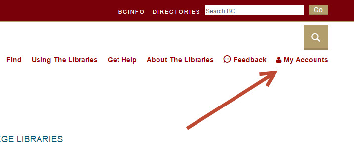 "screenshot of ""my accounts"" link on BC Libraries pages"