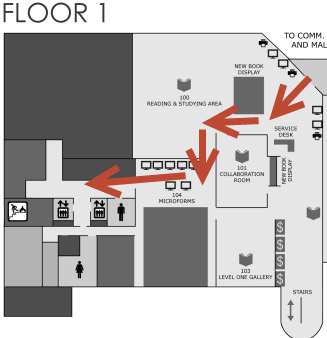 Map showing elevators in O'Neill Library first floor