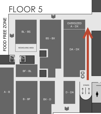 Map showing route to Oversize A-DX on O'Neill Library 5th Floor