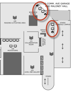 map showing printer location near O'Neill library first floor exit
