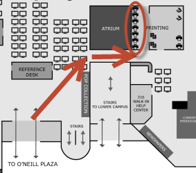 map showing printer location near atrium on O'Neill Library main floor