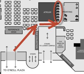 map showing printer location near atrium on O'Neill Library main floor