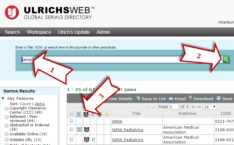 Ulrich's Periodicals Database search example
