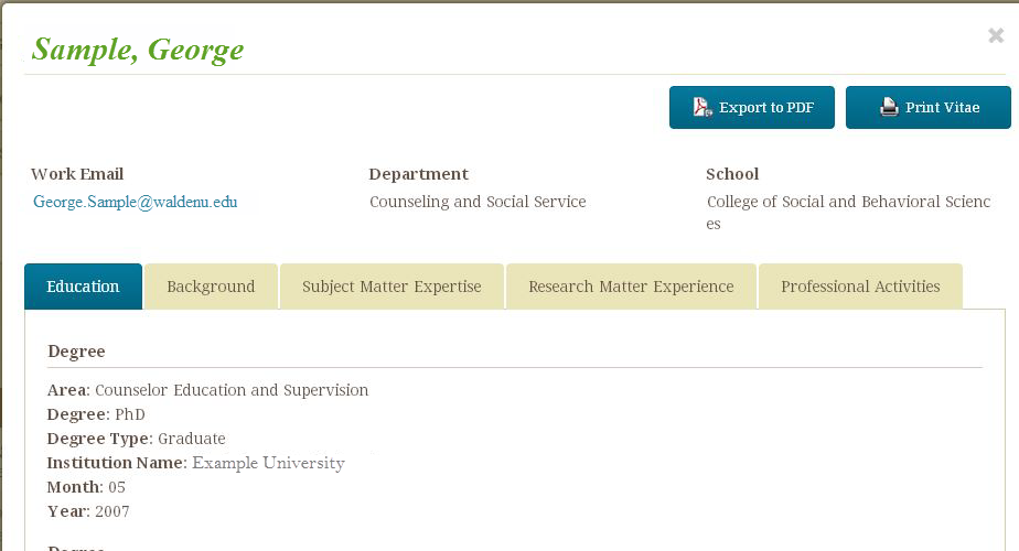 example of a faculty CV in the directory