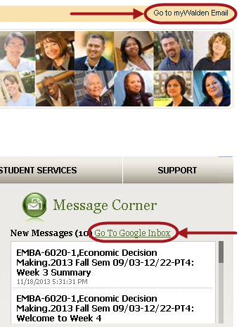 screen shot of email corner of Academics tab in portal