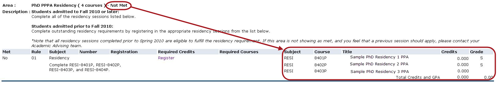 screenshot of residency section of degree audit