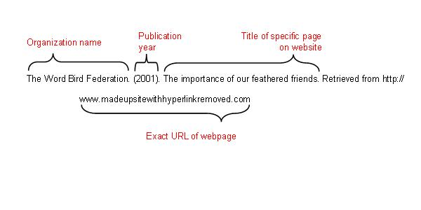 Organization name: The Word Bird Federation. Publication year: (2001). Title of specific page on website: The importance of our feathered friends. Exact URL of webpage: Retrieved from     http://www.madeupsitewithhyperlinkremoved.com