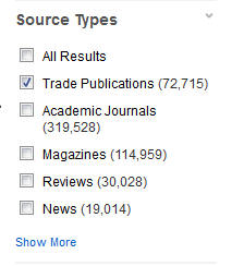 """""""Trade Publications"""" is the 2nd option nested under the heading """"Source Types""""."""