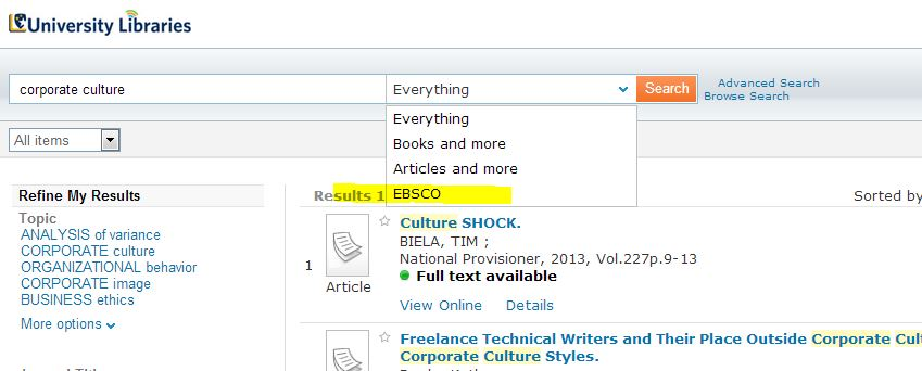 change search to ebsco